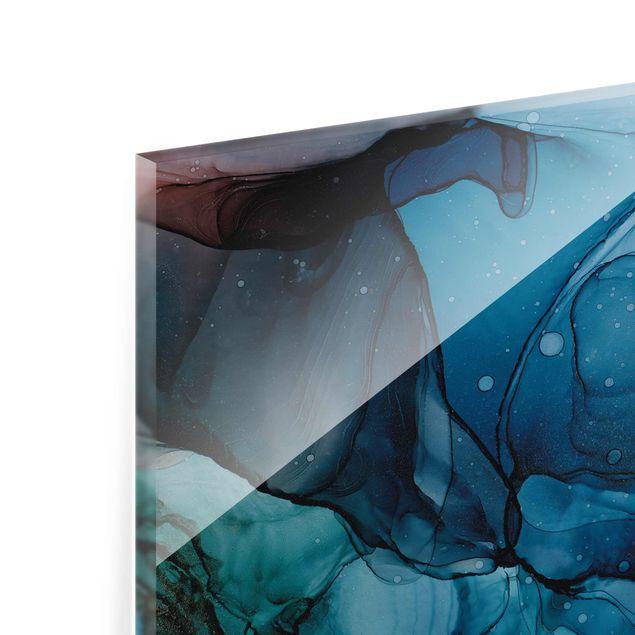 Glasbild - Unterwasser in Petrol und Rot mit Gold - Hochformat 3:4