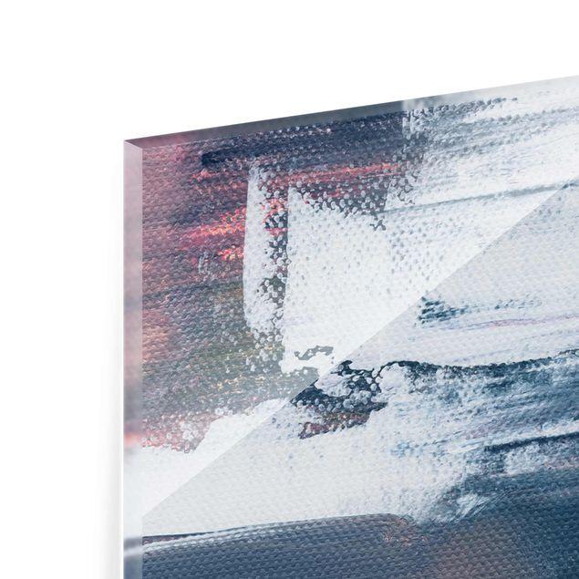 Glasbild - Elisabeth Fredriksson - Rosa Sturm mit Gold - Hochformat 2:3