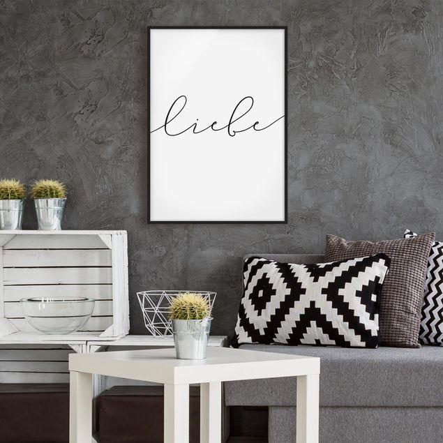 Bild mit Rahmen - Liebe Kalligraphie - Hochformat 3:4