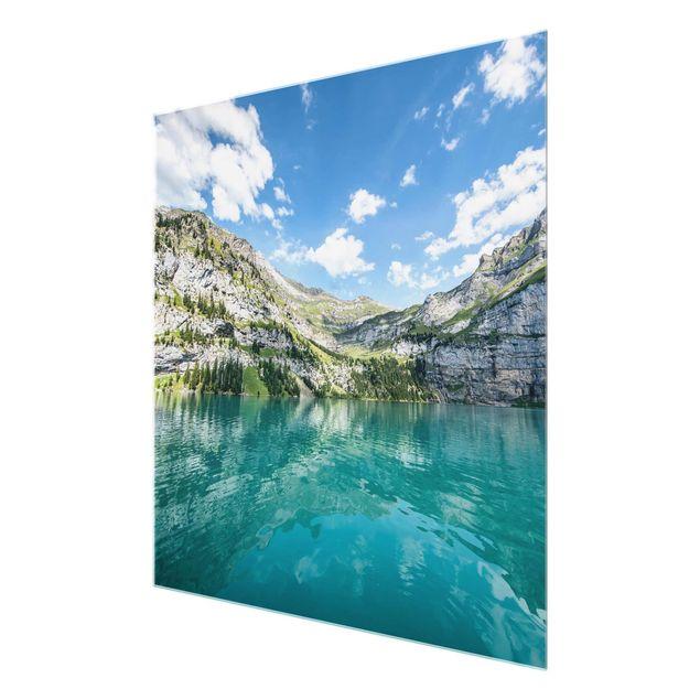 Glasbild - Traumhafter Bergsee - Quadrat 1:1