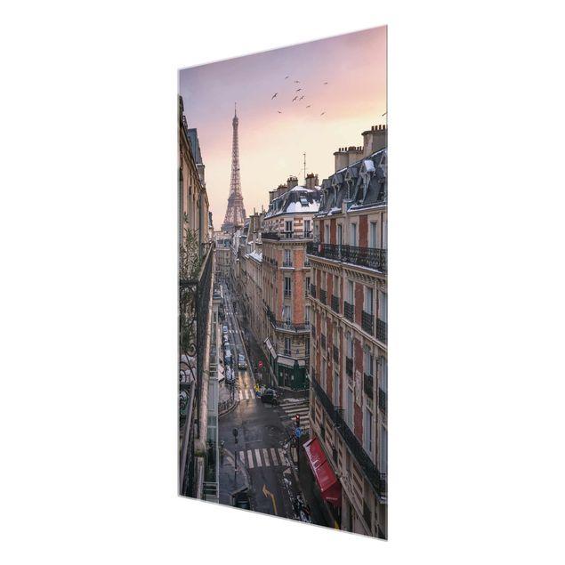 Glasbild - Eiffelturm bei Sonnenuntergang - Hochformat 2:3