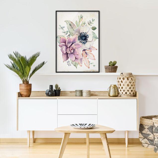 Bild mit Rahmen - Aquarell Blumen Landhaus - Hochformat 3:4