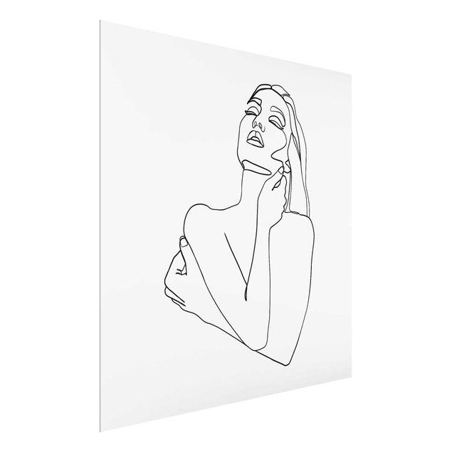 Glasbild - Line Art Frau Oberkörper Schwarz Weiß - Quadrat 1:1