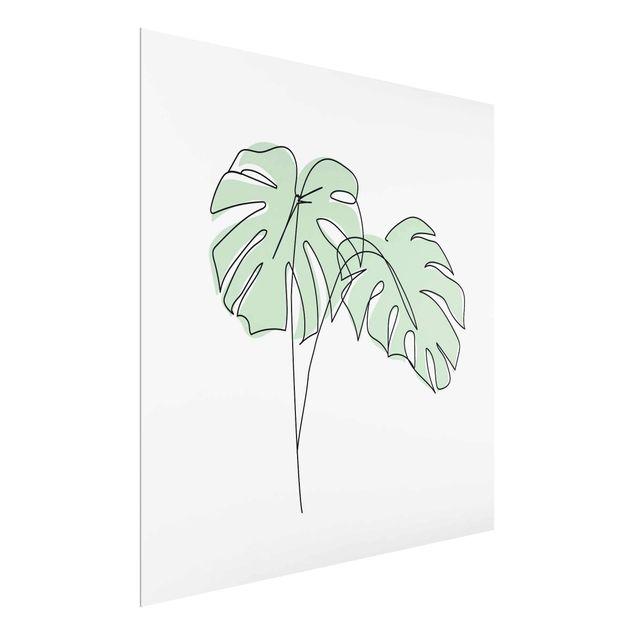 Glasbild - Monstera Blätter Line Art - Quadrat 1:1
