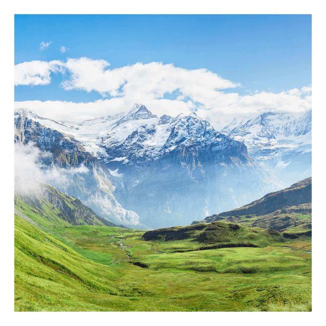Glasbild - Schweizer Alpenpanorama - Quadrat 1:1