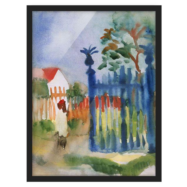 Bild mit Rahmen - August Macke - Gartentor - Hochformat 3:4