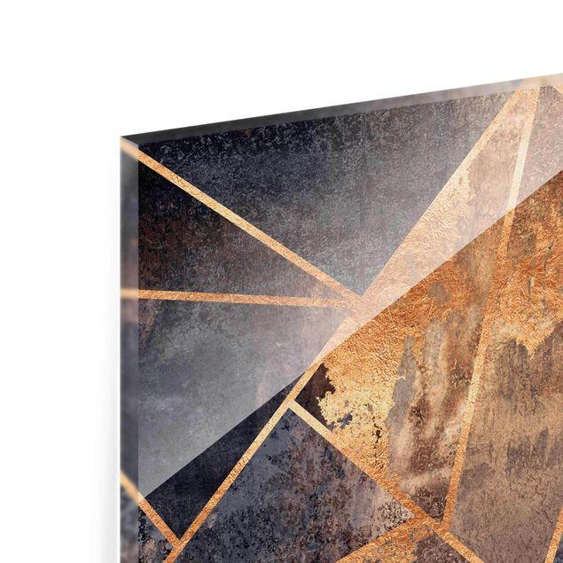 Glasbild - Elisabeth Fredriksson - Onyx mit Gold - Hochformat 2:3