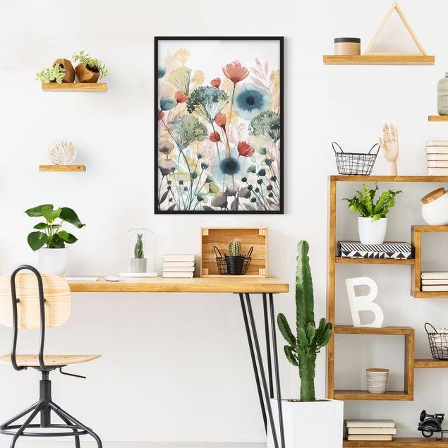 Bild mit Rahmen - Wildblumen im Sommer I - Hochformat 4:3