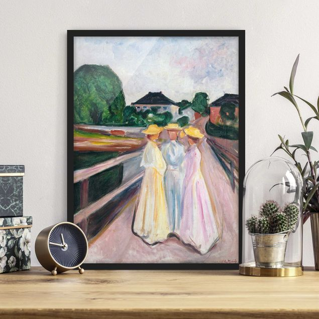 Bild mit Rahmen - Edvard Munch - Drei Mädchen - Hochformat 3:4