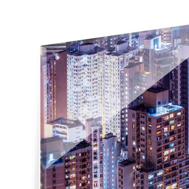 Glasbild - Hongkong Lichtermeer - Hochformat 3:4