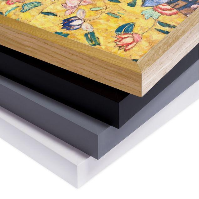 Bild mit Rahmen - Gustav Klimt - Dame mit Fächer - Quadrat 1:1
