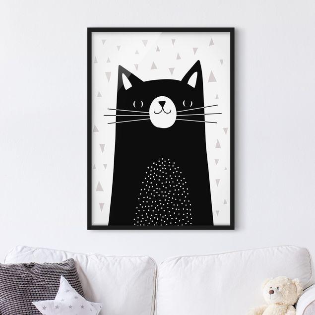 Bild mit Rahmen - Tierpark mit Mustern - Katze - Hochformat 4:3