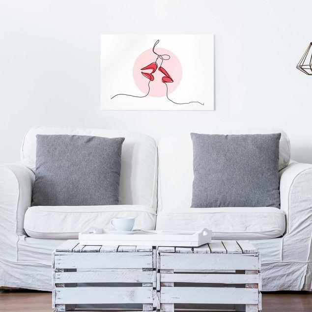 Glasbild - Lippen Kuss Line Art - Querformat 2:3