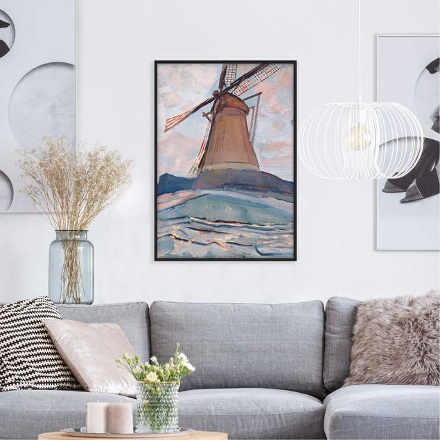 Bild mit Rahmen - Piet Mondrian - Windmühle - Hochformat 3:4