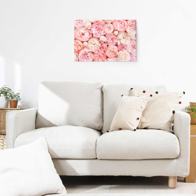 Glasbild - Rosen Rosé Koralle Shabby - Querformat 2:3