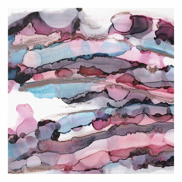 Glasbild - Wellenreiten in Violett mit Roségold - Quadrat 1:1