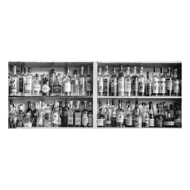Glasbild - Bar Schwarz Weiß - Panorama