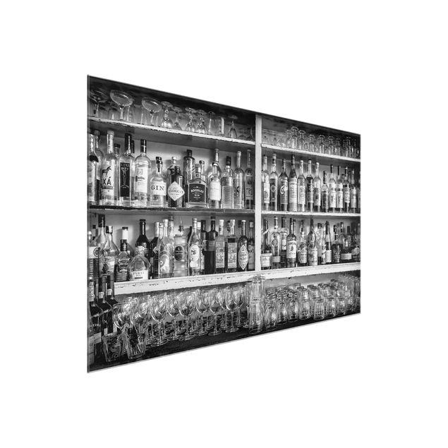 Glasbild - Bar Schwarz Weiß - Querformat 3:2