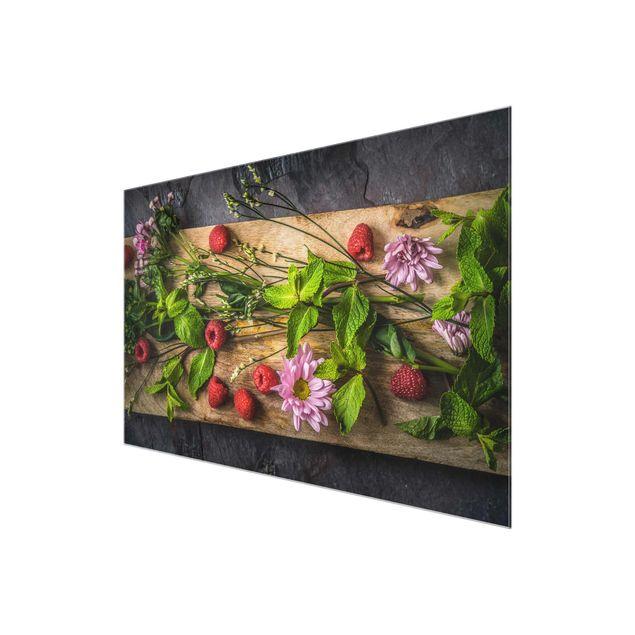 Glasbild - Blumen Himbeeren Minze - Quer 3:2