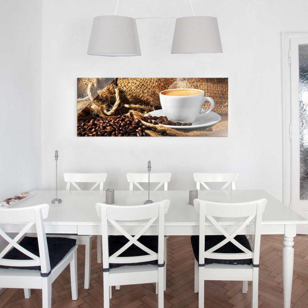 Glasbild - Kaffee am Morgen - Panorama Quer