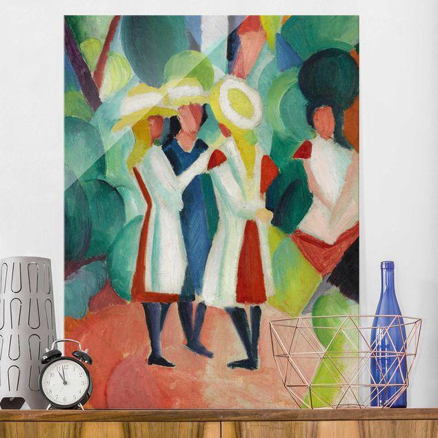 Glasbild - Kunstdruck August Macke - Drei Mädchen mit gelben Strohhüten - Hoch 3:4
