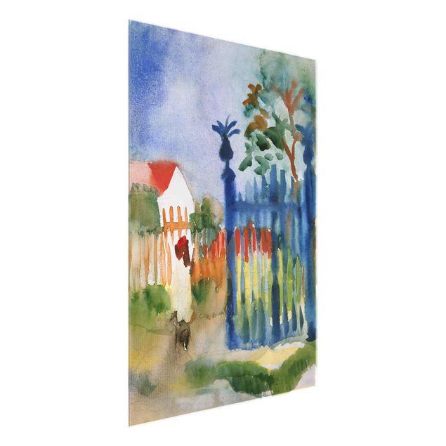 Glasbild - Kunstdruck August Macke - Gartentor - Hoch 3:4