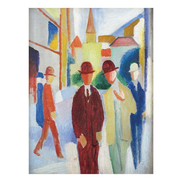 Glasbild - Kunstdruck August Macke - Helle Straße mit Leuten - Hoch 3:4