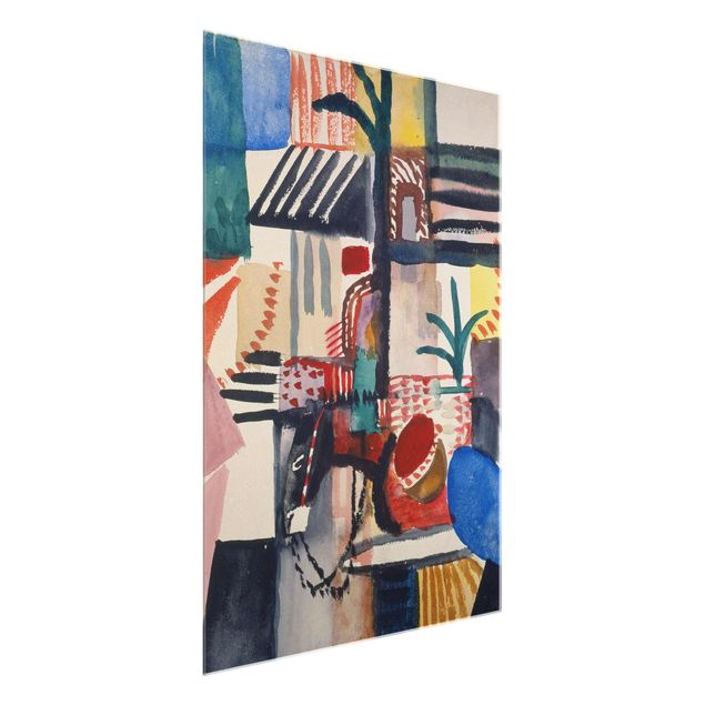 Glasbild - Kunstdruck August Macke - Mann mit Esel (Tunis) - Hoch 3:4