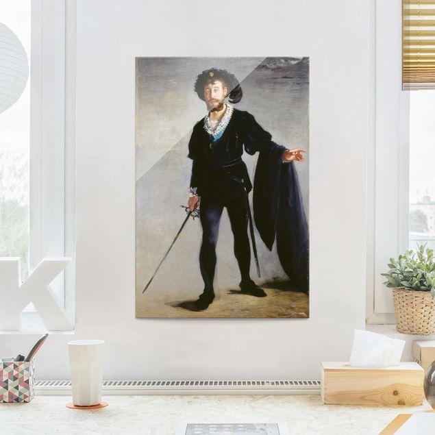 Glasbild - Kunstdruck Edouard Manet - Der Sänger Jean-Baptiste Faure als Hamlet - Hoch 2:3