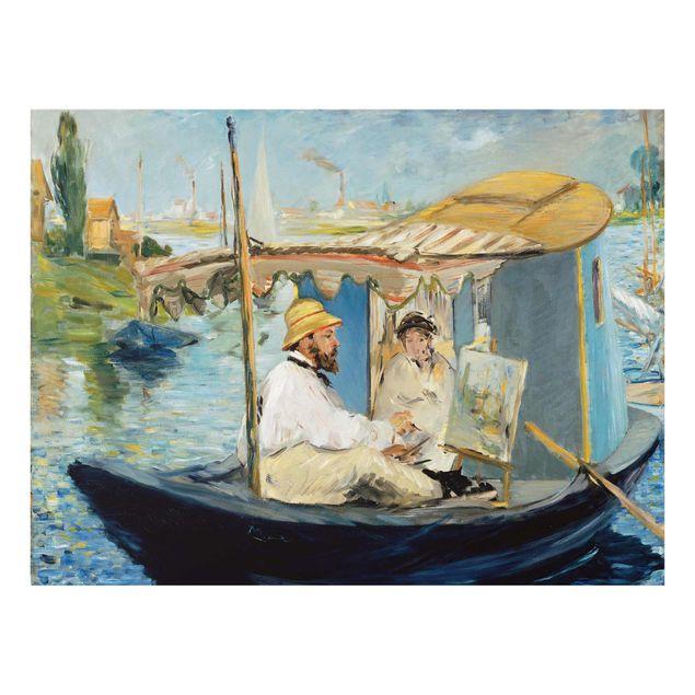 Glasbild - Kunstdruck Edouard Manet - Die Barke (Claude Monet in seinem schwimmenden Atelier) - Quer 4:3