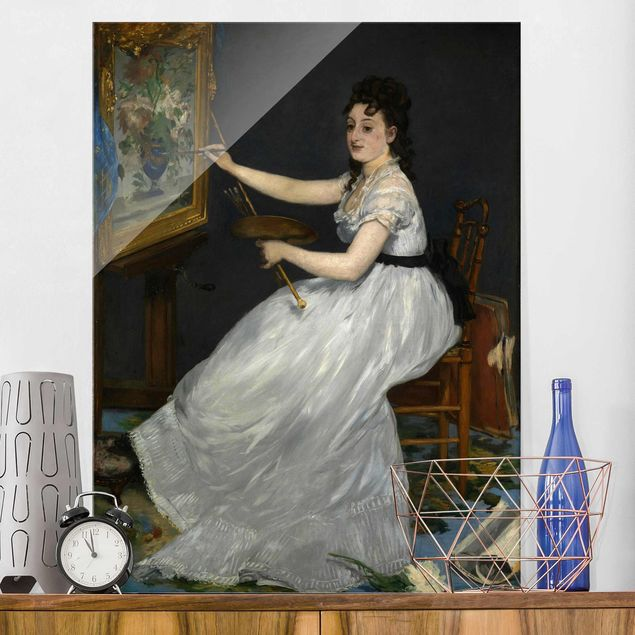 Glasbild - Kunstdruck Edouard Manet - Eva Gonzalès - Hoch 3:4