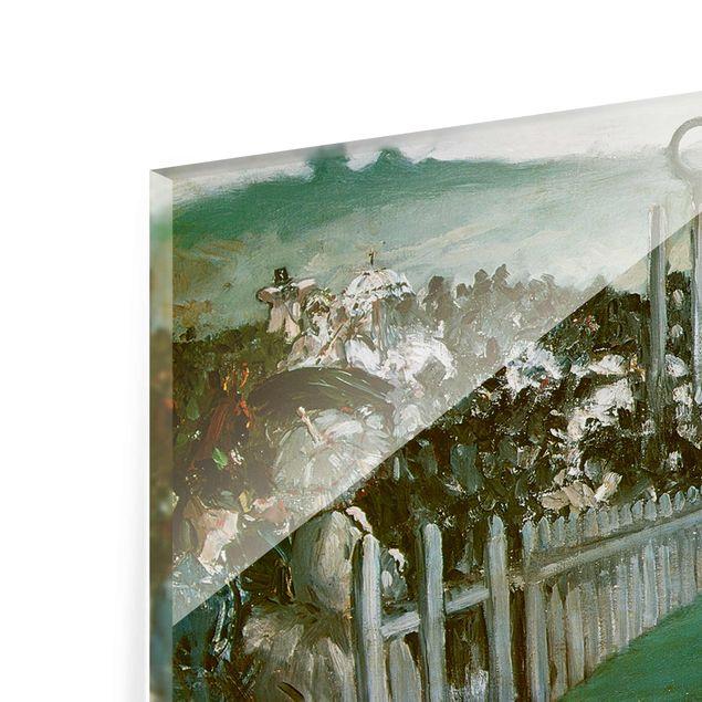 Glasbild - Kunstdruck Edouard Manet - Pferderennen in Longchamps - Panorama Quer