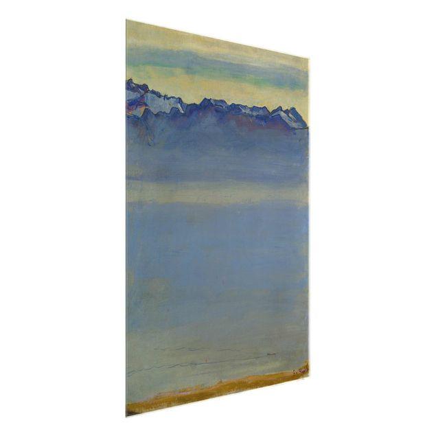 Glasbild - Kunstdruck Ferdinand Hodler - Genfer See mit Savoyer Alpen - Hoch 3:4