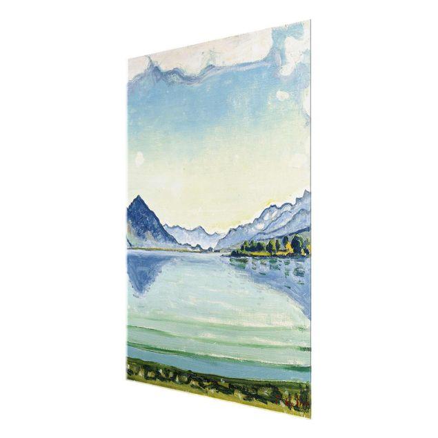 Glasbild - Kunstdruck Ferdinand Hodler - Thunersee bei Leissigen - Hoch 3:4