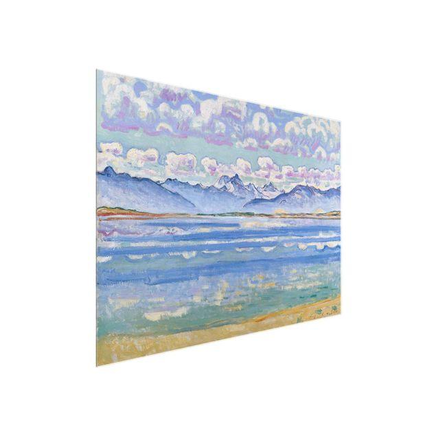 Glasbild - Kunstdruck Ferdinand Hodler - Weisshorn, von Montana aus gesehen - Quer 4:3