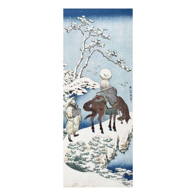 Glasbild - Kunstdruck Katsushika Hokusai - Der chinesische Dichter Su Dongpo - Panorama Hoch