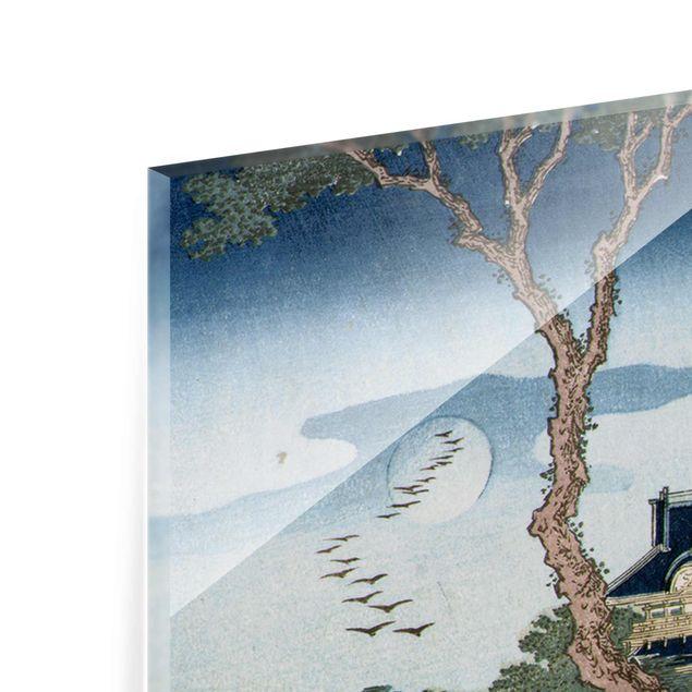Glasbild - Kunstdruck Katsushika Hokusai - Eine Bauernfamilie schlägt im Mondlicht die Wäsche - Panorama Hoch