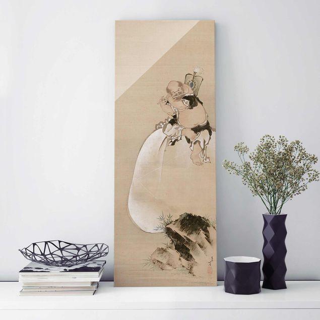 Glasbild - Kunstdruck Katsushika Hokusai - Hotei. Edo-Zeit - Panorama Hoch
