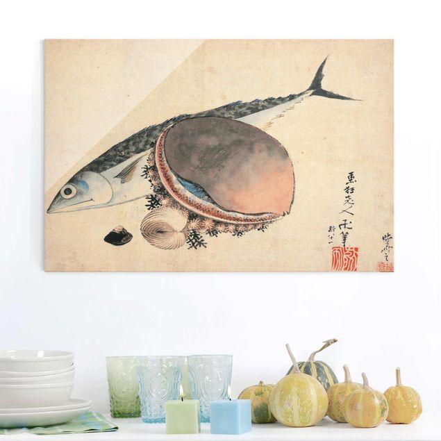 Glasbild - Kunstdruck Katsushika Hokusai - Makrele und Seemuscheln - Quer 3:2