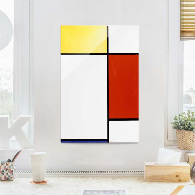 Glasbild - Kunstdruck Piet Mondrian - Komposition I - Hoch 2:3