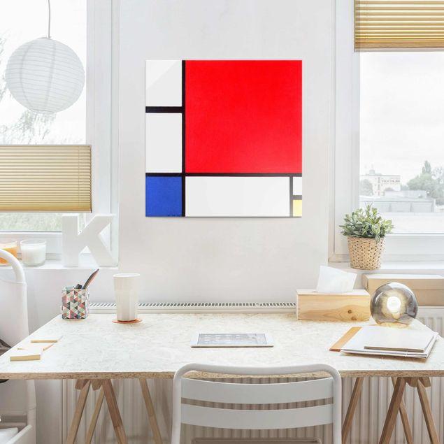 Glasbild - Kunstdruck Piet Mondrian - Komposition mit Rot, Blau und Gelb - Quadrat 1:1