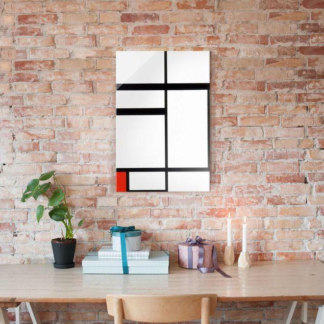 Glasbild - Kunstdruck Piet Mondrian - Komposition mit Rot, Schwarz und Weiß - Hoch 2:3