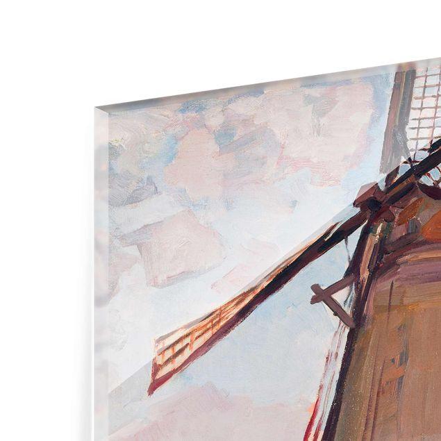 Glasbild - Kunstdruck Piet Mondrian - Windmühle - Hoch 3:4