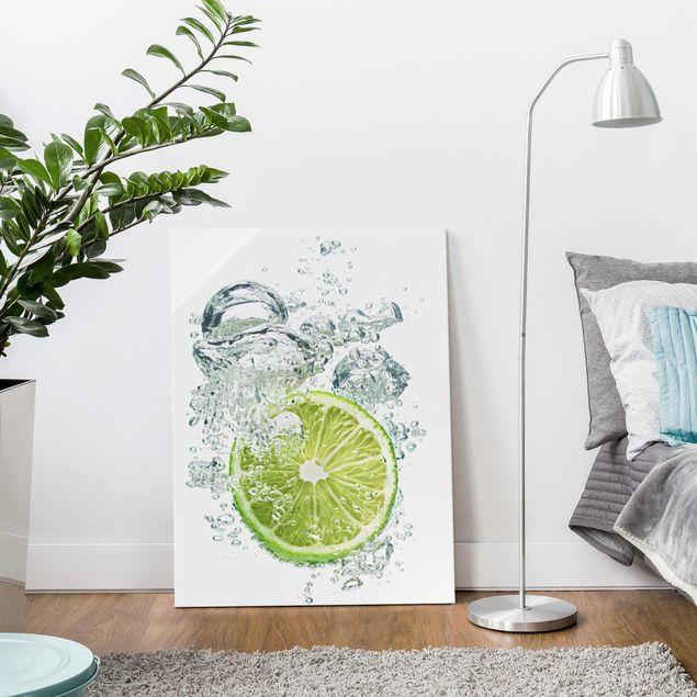 Glasbild Küche - Lime Bubbles - Hoch 3:4