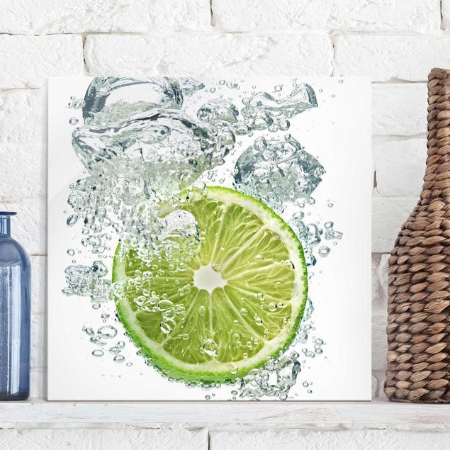 Glasbild Küche - Lime Bubbles - Quadrat 1:1