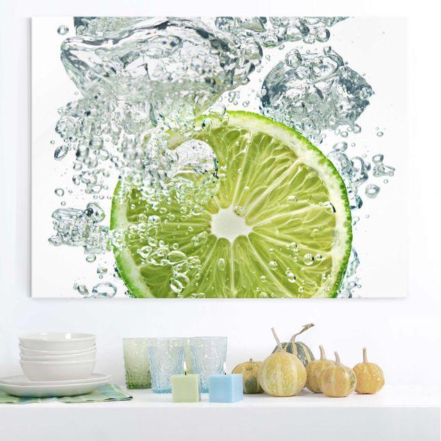 Glasbild Küche - Lime Bubbles - Quer 4:3