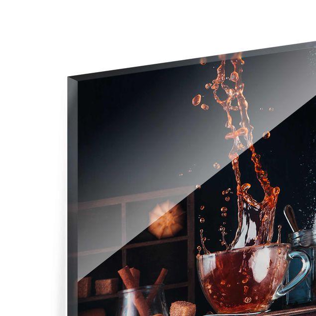 Glasbild - Milch und Tee Komposition - Panorama