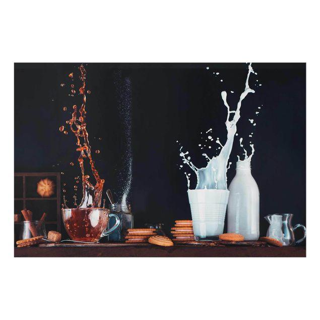 Glasbild - Milch und Tee Komposition - Querformat 3:2