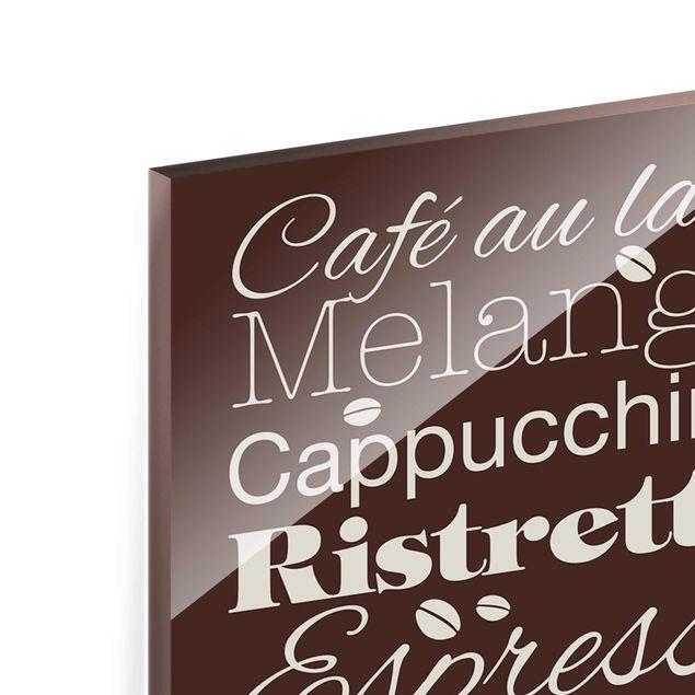 Glasbild - No.EV64 Kaffeespezialitäten Braun - Panorama Hoch