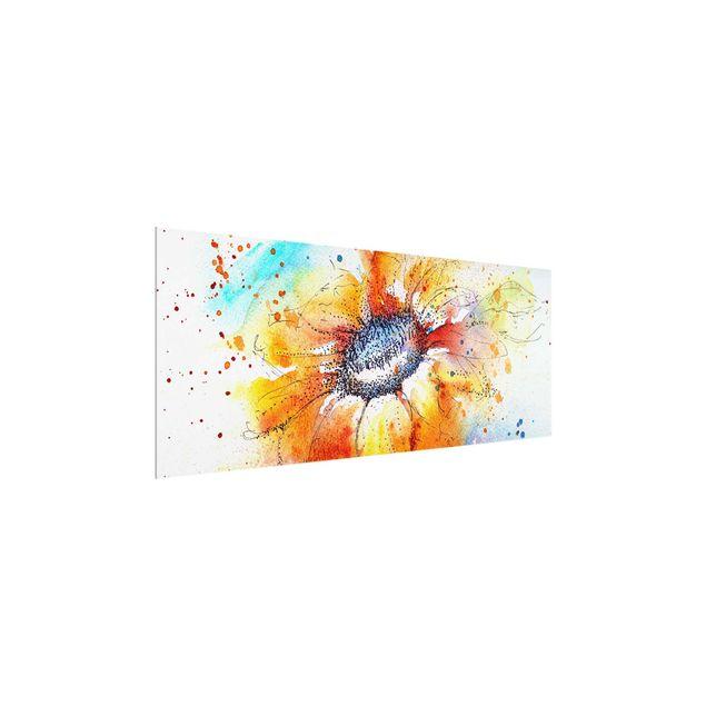 Glasbild - Painted Sunflower - Panorama Quer